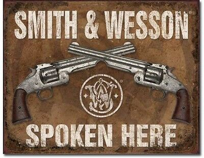 """Smith & Wesson Spoken Here - Metal / Tin Sign 16"""" x 12.5""""  #1849"""