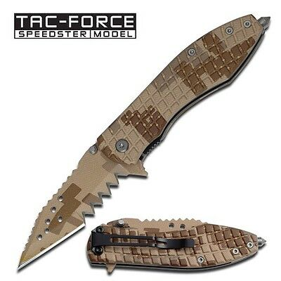"""Tac-Force """"Jaws"""" Assisted Opening Folder- Desert Camo   xx-tf729dms"""