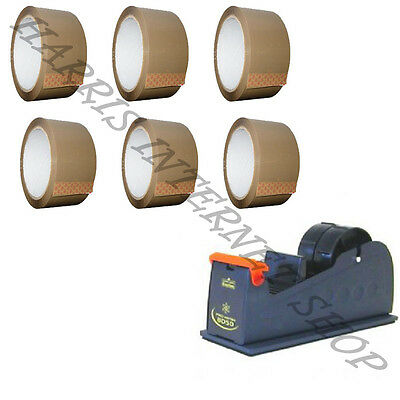 "Bundle Of 1 Heavy Duty 2"" Metal Tape Dispenser + 6 Rolls Of Brown Packing Tape"