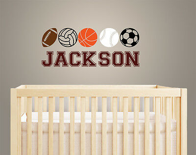 American Football Basketball Baseball Style Baby Boy Name Sports Decal  AM026