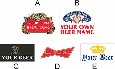 Personalised Custom Beer Bottle Vinyl Labels for home brew larger making