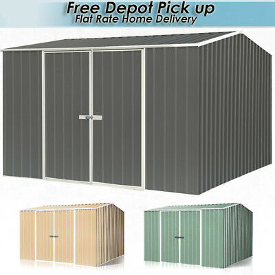 Absco Eco Range Shed 3mW x 3mD Double Door Garden Sheds Green or Merino or Grey