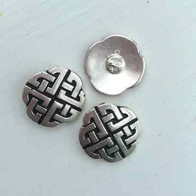 3 Celtic buttons. 21mm quality silver and pewter. Irish Scottish Welsh knot bead