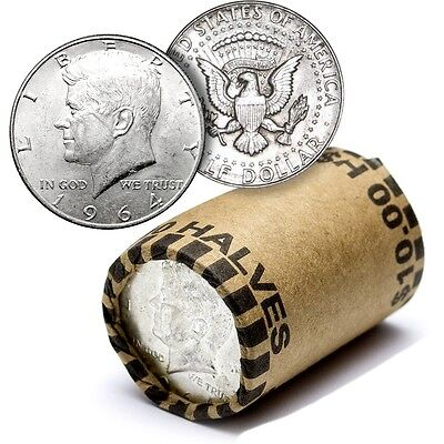 20 Coin Roll Lot Of UNSEARCHED 90% Silver Kennedy Half Dollars - $10 FV - USA