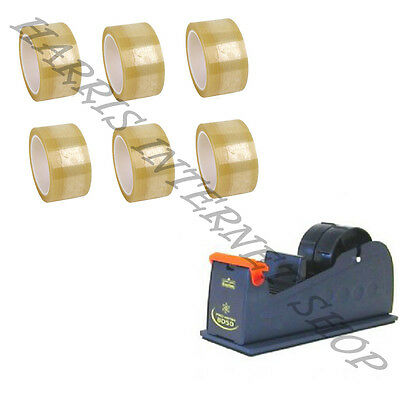 "Bundle Of 1 Heavy Duty 2"" Metal Tape Dispenser + 6 Rolls Of Clear Packing Tape"