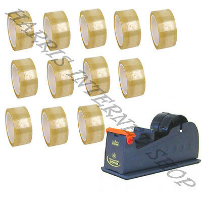 "Bundle Of 1 Heavy Duty 2"" Metal Tape Dispenser + 12 Rolls Of Clear Packing Tape"