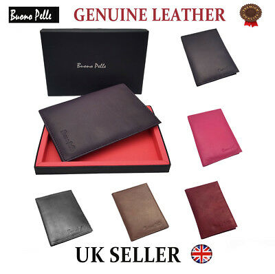 Real Leather Passport Cover Travel Credit Card Note Slim Wallet Holder Organiser