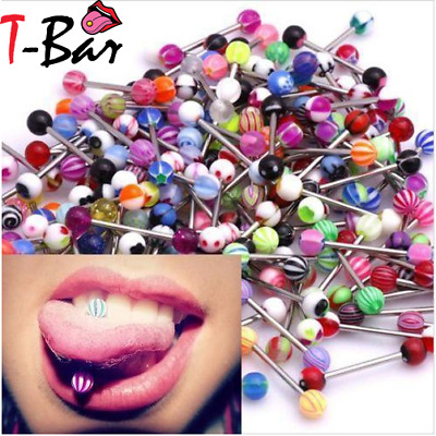 30/50/100 Tongue Piercing Surgical Steel UV Tongue Bar Nipple Bars Barbell - UK