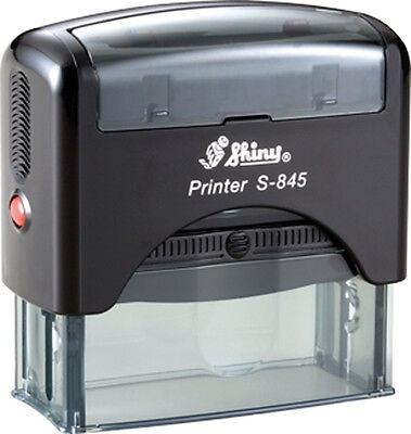 Custom 6 line Business name address Shiny S-845 Office Self-Inking Rubber Stamp