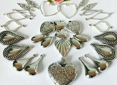 25x large Mix Silver Filigree Teardrop Pendant Charms *11-35mm *Updated*