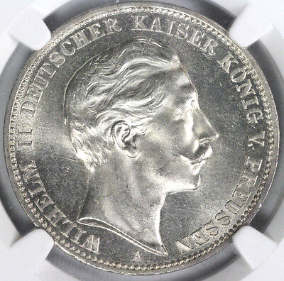 Germany-Prussia 1911A NGC MS64 3 Mark (Regular Issue)
