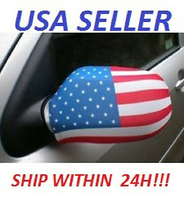 Pair Of new USA flag Car Mirror Covers - - 4th Of July!!
