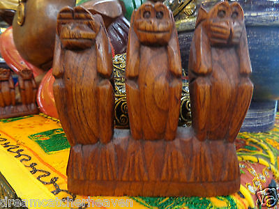 Beautiful Hand Carved Three Wise Monkey Ornament Statue Rrp $14.99  W/sale Store