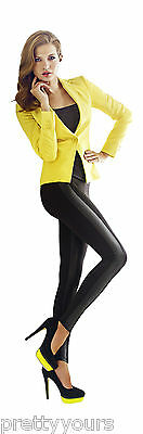 Women Opaque Soft Cotton Leggings with Leather Stripe Full Ankle Length, 180 Den