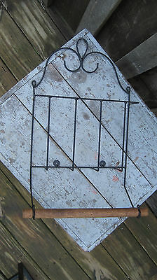 Vintage Wrought Iron Towel Bar Rack Hook Mid Century Home Garden Patio Yard Art