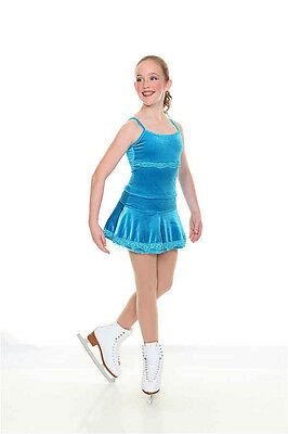 NEW COMPETITION FIGURE SKATING DRESS  Twizzle Turquoise Velvet 12 10-12 CL