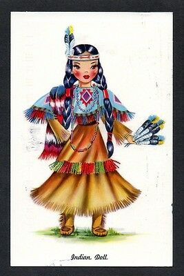 INDIAN DOLL TICHNOR POSTCARD Dolls of Many Lands Series Ad Doll Hospital Indiana