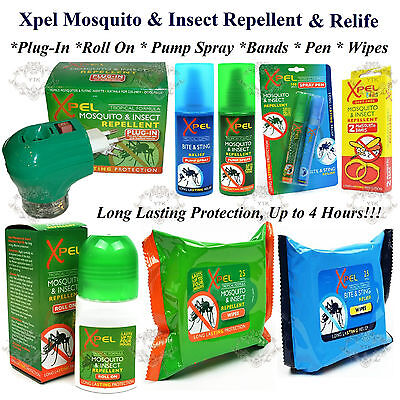 Xpel Mosquito & Insect Repellent Plug-In Roll-On Pump Spray Pens Bands Wipes New