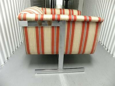Milo Baughman Sleek Mid Century Cube Lounge Chair With Chrome Floating Base