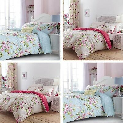 Catherine Lansfield Canterbury Floral Cotton Rich Bedding Set Blue or Red