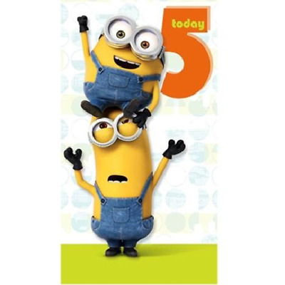 Despicable Me Minions Age 5 Today 5th Birthday Card 215