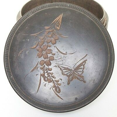 Antique Hand Carved Wood VICTORIAN COLLAR BOX Butterflies and Flowers