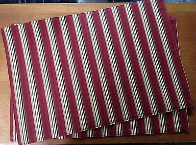 Longaberger Set of 2 Holiday Stripe Placemats -Excellent Condition