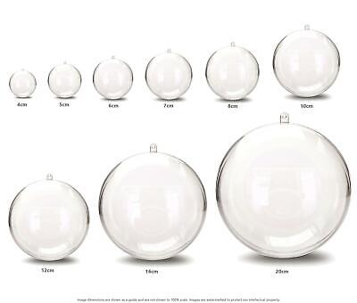 JfM ALL SIZES Clear Plastic Craft Ball Acrylic Transparent Sphere Bauble
