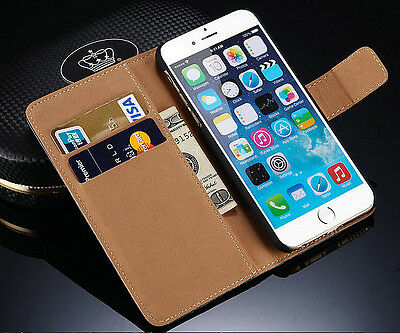 "Genuine Leather Wallet Stand Case Cover Pouch Skin for Apple iPhone 6 4.7"" 6S"
