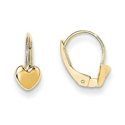 14k Yellow Gold 0.4IN Long Childs Heart Leverback Earrings