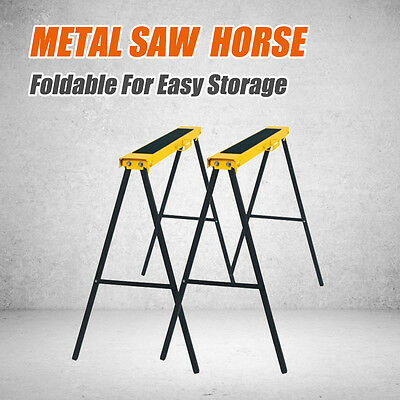 2pc Metal Saw Horse Foldable Steel Trestle Stand Anti-Slip Carpentry Work Bench