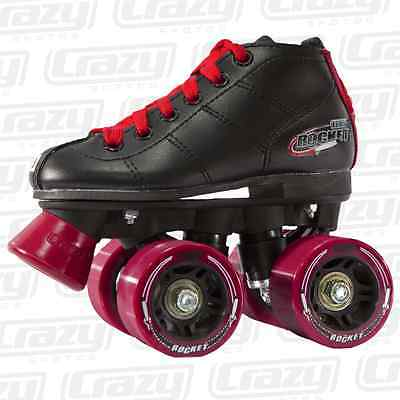 Crazy ROCKET KIDS Roller Skates - Black/Red - NEW Speed Rollerskates *CLEARANCE*