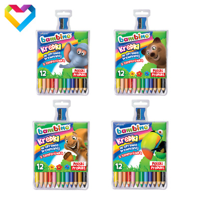 Bambino - Colouring Pencils 12 Colours - For Kids - Kredki Bambino + Sharpener!