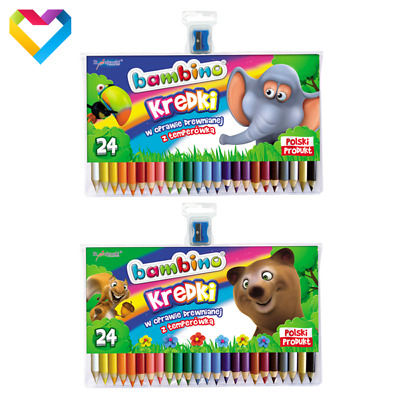 Bambino - Colouring Pencils  24 Colours - For Kids - Kredki Bambino + Sharpener!