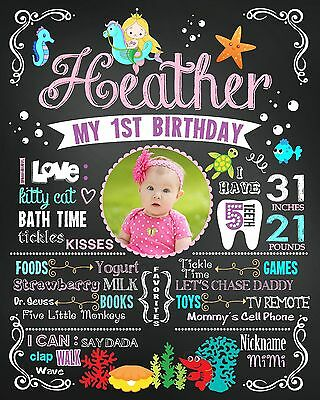 Mermaid Birthday Chalkboad poster sign banner milestone custom with photo #25