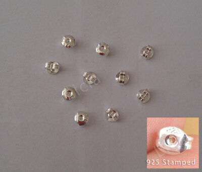 10X 925 Sterling Silver Round Earring Back Ear Nut Stopper Jewellery Findings