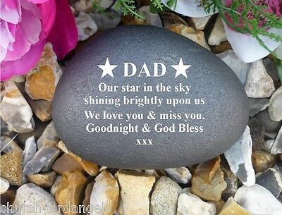 Memorial Gift Personalised Pebble (Stone effect) DAD/Star