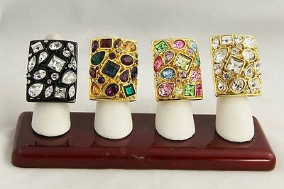 80s KJL KENNETH JAY LANE Jewelry LARGE RHINESTONE COCKTAIL RING CHOICE OF COLOR