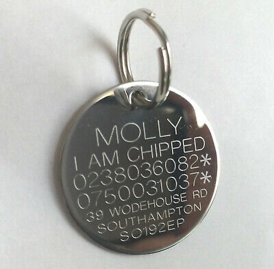Engraved Pet Tags Dog Cat Round Disc Stainless Steel Collar Tag Pets ID & Ring