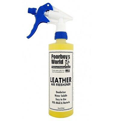 Poorboy's World Leather Air Freshener Odour 473ml 16oz + CAR CARE SAMPLES