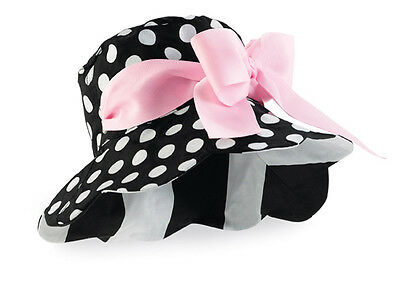 Baby Girl Mud Pie Reversible Cotton Hat  With Pink Bow Perfectly Princess