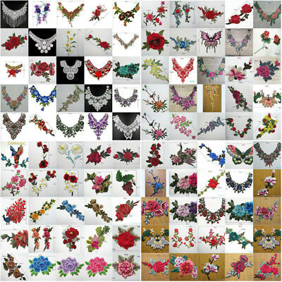 Lace Embroidered Floral Neckline Collar Trim Clothes Applique Sew on Patch Badge