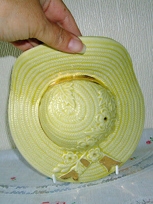 Vintage Ceramic Wall pocket in shape of a yellow hat, charming