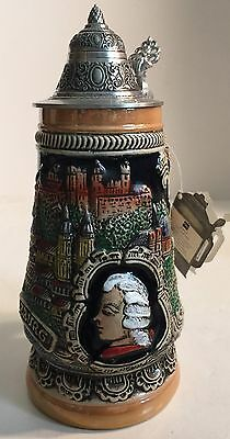 Vintage Austrian Lidded King Stein / A 4889 / Pewter Lid / Beautiful Condition