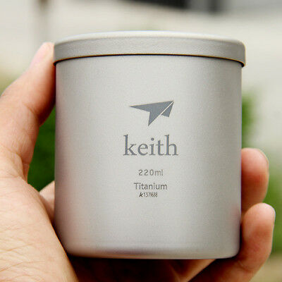 Keith 220ml Titanium Cup Double Wall Outdoor Camping Backpack Picnic Coffee Mug