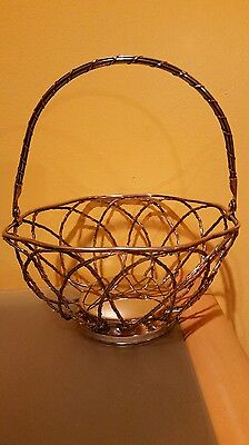 Vintage Twisted Wire Silver Plated Bread Basket with Handle