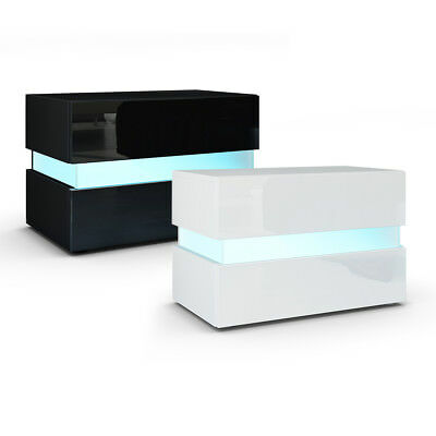 Bedside Table Nightstand Cabinet Chest of Drawers Flow White or Black High Gloss