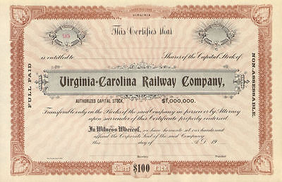 Virginia  Carolina Railway Company > railroad stock certificate north share