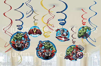 12 AVENGERS ASSEMBLE SWIRL DECORATIONS Boys Childs Superheroes Birthday Party