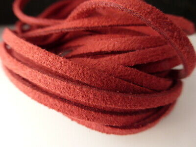 5m x 3mm Red Faux Imitation Suede Cord Thong Lace Beading Necklace         (F68)